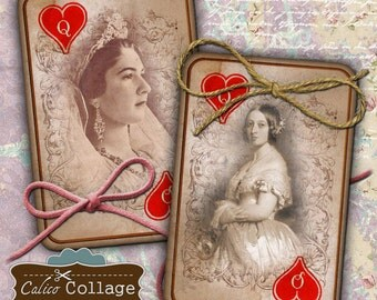 Queen of Hearts, Collage Sheet, Playing Cards, Queens Portraits, Decoupage Paper, Vintage Cards, Card Collage Sheet, CalicoCollage