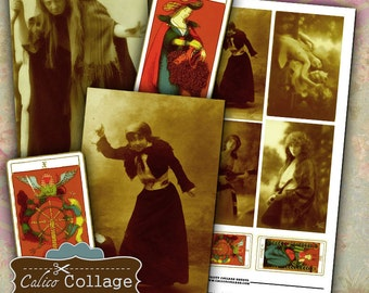 Witchy Women Digital Collage Sheet Halloween Images Altered Art Mixed Media Decoupage Paper Printable Images Calico Collage Art Supplies