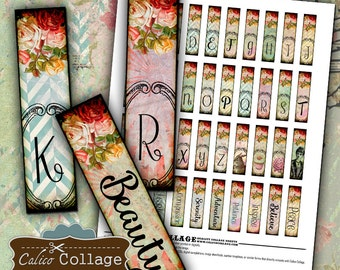 Vintage Rose Initial, 12x50mm, Collage Sheet, Matchstick Size, .5x2 Inch Images, Monogram Printable, Digital Collage Page, Instant Download