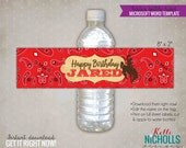 Red Western Water Bottle Label Template, Cowboy Party Decoration, Red Bandana, Instant Download #B116B