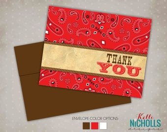 Western Birthday Party Thank You Cards, Cowgirl Cowboy Party, Red Bandana Folding Thank You Note #B116B