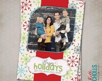 Snowflake Christmas Card, Custom Modern Printable Holiday Greeting Card, Happy Holidays