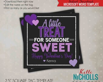 Purple Hearts Valentine's Card Tag, Children's Valentine Gift Tag, Chalkboard, Printable Digital Template - Instant Download