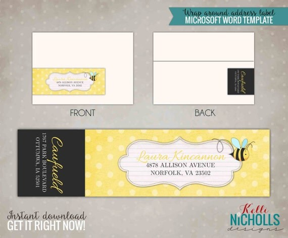 Bumble Bee Wrap Around Return Address Label, Instant Download #S104