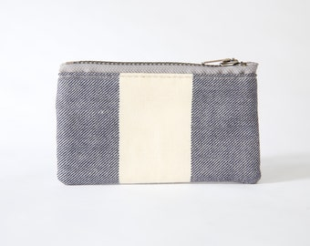 Small Zipper Pouch, Vintage Striped Fabric, Blue and White, Coin Purse, Card Wallet, Gadget Case, Ready to ship, Gift idea