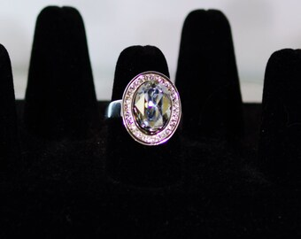 Silver and Swarovski Crystal Jewelry - Ring - Oval Setting - Silver Plated - Size 8 - Available in Several Colors