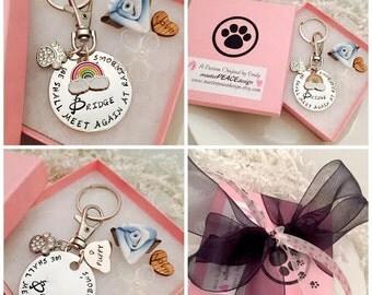 Personalized Pet Memorial Keychain / Pet Memorial Key Chain / Pet Memorial Keyring / Pet Memorial Gift / Rainbow Bridge / Sympathy Gift