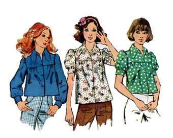 1970s Smock Tops Pattern Summer Puff Sleeves Dog Ear Collar Tent Crop Top Long Sleeve Bust 32 OR 36 Simplicity 5583 Vintage Sewing Pattern