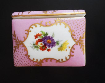 Vintage Limoges Style China Book Trinket Box Peint a la Main Hand Painted Small Lavender 3 X 4 Flowers Gold Purple French Decor
