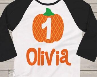 first 1st birthday pumpkin fall party RAGLAN  t-shirt BGPPART