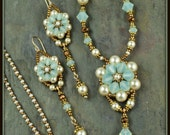 Reserved for Carol, Crystal Flower Necklace and Earrings