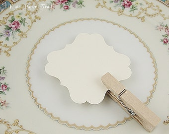 "DIY Wedding Place Cards, Small Flat Cards, Bracket Cards, Ornate Cards, 2.5"", Natural Cream, Set of 50"