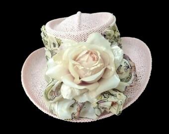 "Women's Golf Hat, Golf Gift, Straw Sun Hat, Women's Golf Wear, Summer Hat, Gambler Style Golf Hat ""P.G.A."" - Pink and Gorgeously Attractive!"