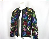 50% Off Sale Vintage Sequined Jacket, Hand Embroidered on Silk, Sz M