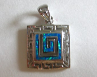 Turquoise Chips 925 Silver Pendant Geometric Southwestern Old Stock Free Shipping
