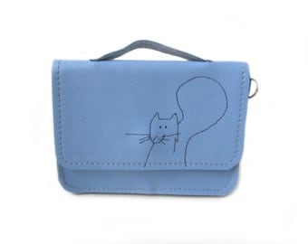 blue leather wallet squirrel schoolbag style