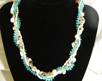 Three Strand Shell Crystal and Pearl Necklace