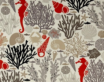 Ocean Theme Shower Curtain, Seahorse Shower Curtain, Seashell Shower Curtain, Orangey-Red, Black, Grey Bathroom Decor, Beach Decor