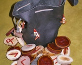 Custom Order Stone Wood Bone Rune Set and Leather Pouch Casting Cup