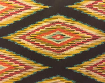 Linen Fabric Blend Navajo Blanket Design in Onyx Colordaze Linen by Moda Fabrics 1 yard
