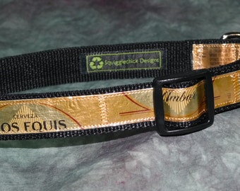 Adjustable Dog Collar from Recycled Dos Equis Ambar Beer Labels