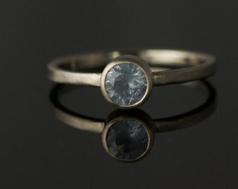 Blue Montana // 5.5mm Montana Sapphire in 14k Gray Gold Satin Finish by VK Designs in Portland, OR