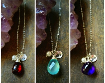 Custom Birthstone Necklace, Love you, Bridesmaid Gifts, Gemstone jewelry, Valentines day, Sterling silver, sisters, best friends, friendship