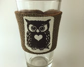Owl Coffee/Beer Cozy with Gift Card Holder Option