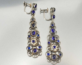 Sapphire Earrings, Chandelier Earrings, Austro Hungarian Victorian Earrings Silver Chandelier Dangle Earrings Pearl Earrings Antique Jewelry