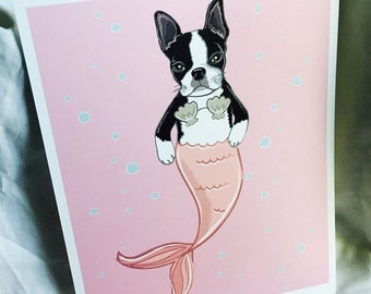 Pink Mermaid Boston Terrier - Eco-Friendly 8x10 Print