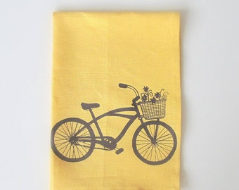 Tea Towel - Cruiser Bike with Basket of Flowers - Choose your fabric and ink color