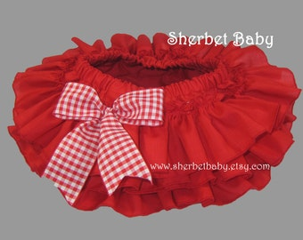 All Around Ruffle Bloomer Skirt in Red with Bow