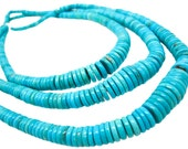 Turquoise Beads, Turquoise, Graduated Discs, Blue Turquoise, December Birthstone, SKU 4152A