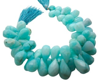 Peruvian Blue Opal Beads, Faceted Teardrops, Peruvian Opal Briolettes, Blue Opal Teardrop Briolette, Peruvian Opal Drops, SKU 4952