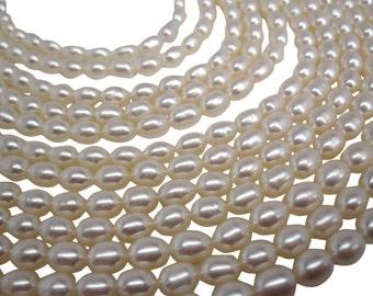 White Pearls, Ivory Pearls, Freshwater Pearls, Rice Shape, SKU 4722