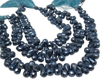Faceted Pyrite Beads, Metallic Blue Pyrite Beads Briolettes, Teardrops, 5mm x 7mm, SKU 4602