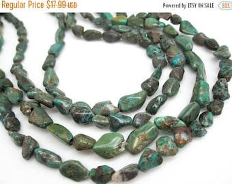 SALE Turquoise Nugget, Turquoise Beads, Green Blue Turquoise, Pebbles, December Birthstone, SKU 4524A