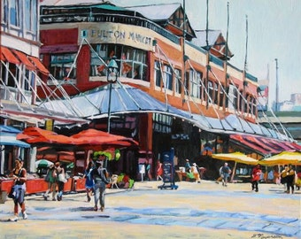 Fulton Market South Street Lower Manhattan New York Painting  Southstreet Seaport, New York City NYC Urban Fine Art Print Gwen Meyerson
