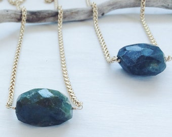 Long Raw Emerald Chunk Necklace