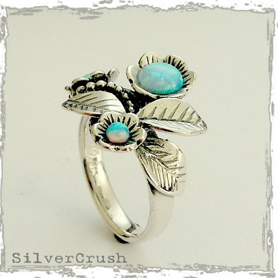 Sterling silver ring, leaf and flowers ring, tiny blue opals ring, mothers ring, birthstones ring, botanical ring - Blue grass R1696-1