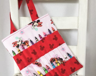 Disney Minnie Mouse Red Crayon Bag Children Coloring Tote Child Crafting Toddler Girl Birthday Gift