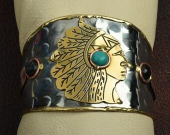 Southwestern Style Cuff  Indidan head 2 tone Cuff Bracelet , J857TQ
