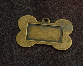 Dog Tag, Brass metal, antiqued plated, 26mm x 40mm, sold 3 each, 05635AG