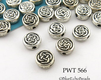 7mm Small Celtic Coin Pewter Bead Antique Silver (PWT 566) 20 pcs BlueEchoBeads