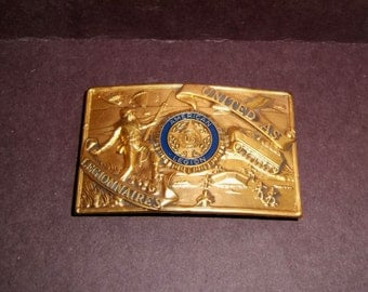 Military Belt Buckle United AS American Legion Legionnaires Brass Enamel Vintage