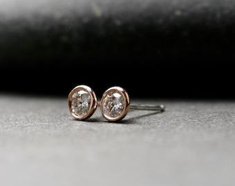 Bezel set 14k rose gold and round brilliant cut Moissanite stud earrings 4mm