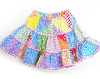 PATCHWORK linen skirt, toddler linen skirt, girl linen skirt, tiered skirt, ruffled skirt, rainbow skirt, spring skirt, girl party skirt