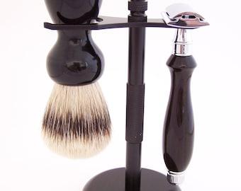 Gabon Ebony Wood 24mm Super Silvertip Shaving Brush and Edwin Jagger DE Safety Razor Shaving Set (Handmade in USA) G3 - Wood Shaving Set