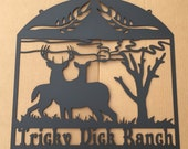 Ranch Sign with a Buck and Doe in the Field with Personalized Text Field (Q24)
