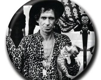 Keith Richards holding a cat 1.75 inch pinback button